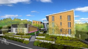 The $21 million Rocky Hill Veterans Housing will be built using modified steel shipping containers. The 39-unit community is designed by G7A Gonzales Architects.