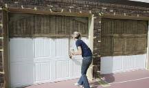 garage door wood lookStaining Steel Garage Doors to Look Like Wood  JLC Online  Metal