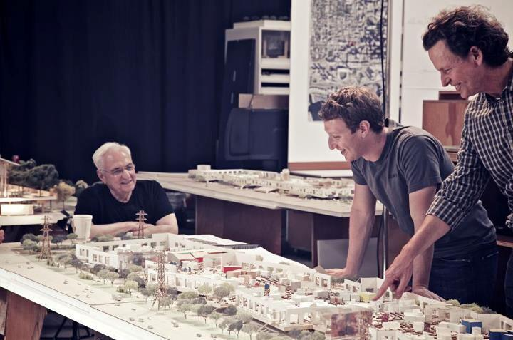 Frank Gehry, Mark Zuckerberg, and Everett Katigbak look over plans for the Menlo Park headquarters expansion.
