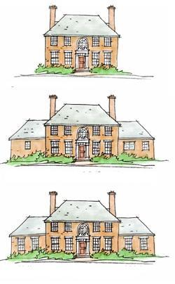 TOP: Original house with wonderful old windows.  MIDDLE: Remodeled house with modern fenestration that satisfies the function of the update interior spaces but does not enhance the historic exterior.  BOTTOM: Remodeled house with well-proportioned windows that satisfy both contemporary interior function and historic exterior aesthetics.
