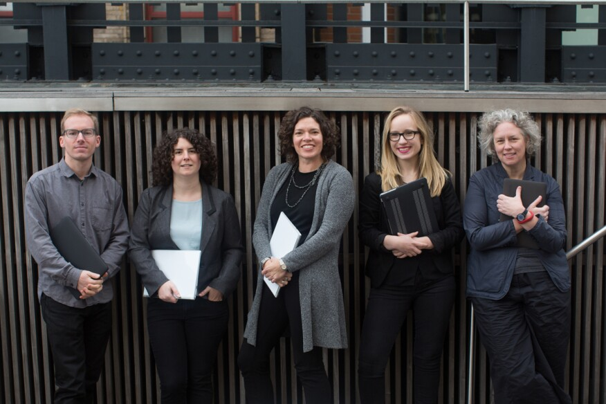 From left to right;Scott Leinweber (Spatial Interaction Designer),Cassie Hackel(Sociospatial Analyst),Melissa Marsh (Founder & CEO), Claire Rowell (Workplace Anthropologist),Ingrid Erickson (Culture of Technology Specialist)