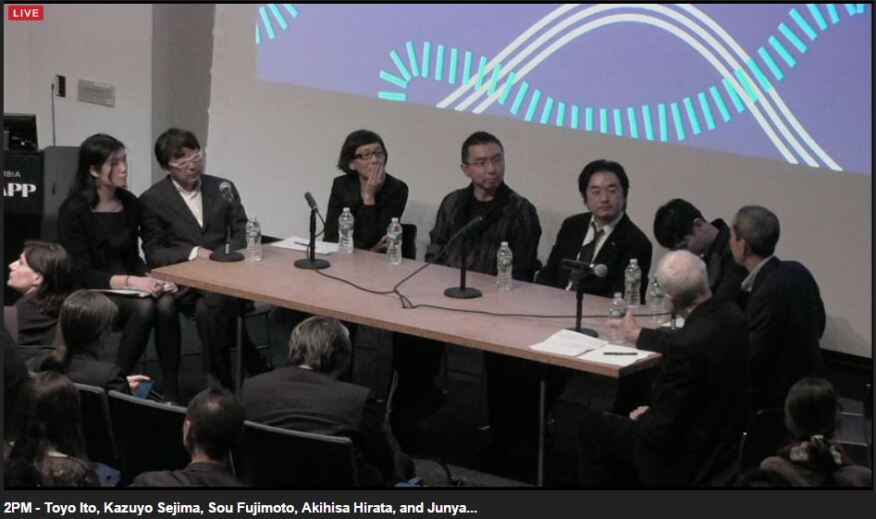 Panel discussion with Toyo Ito, Kazuyo Sejima, Sou Fujimoto, Akihisa Hirata, and Junya Ishigami, moderated by Jeffrey Inaba and Kenneth Frampton, held at Columbia University's GSAPP on March 8, 2016.