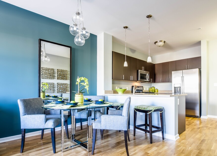 Open kitchen and dining layouts provide a comfortable living space for residents.