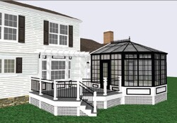 Using SoftPlan, designer Jeremy Fleming used customized specialty pieces to  create the sloped glass roof and custom deck railing in this addition.