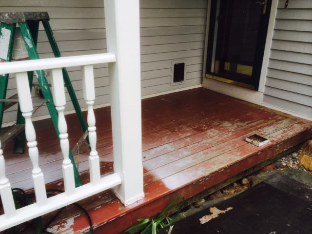 This is what the porch looked like prior to applying the new elastomeric coating.