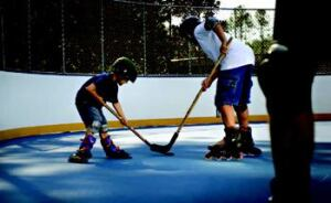 NO CARS: The roller hockey court at St. John's Forest, built to USA Hockey standards, has  become a memorable amenity and created a safe haven for players as an  alternative to games in the street.