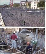 Top: Reinforcing steel mats are supported by chairs to keep the steel at the proper elevation in the slab. Bottom: Concrete must be held in the proper position during concrete placement.