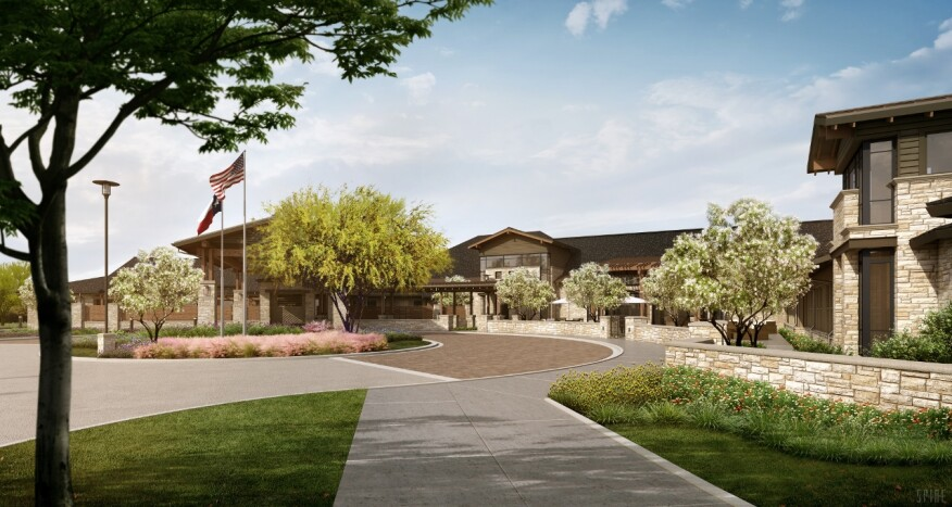 The façade of the one-story, 75,000-square-foot Avanti Senior Living at Towne