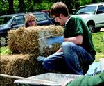 "Students at Ball State University received an EPA ""P3"" grant to  use straw bales to demonstrate the effectiveness of green-building techniques. Photo: U.S. EPA"