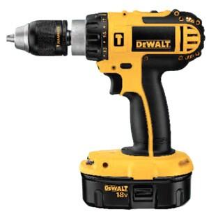 DeWalt's 18-volt hammer-drill runs on nickel cadmium.