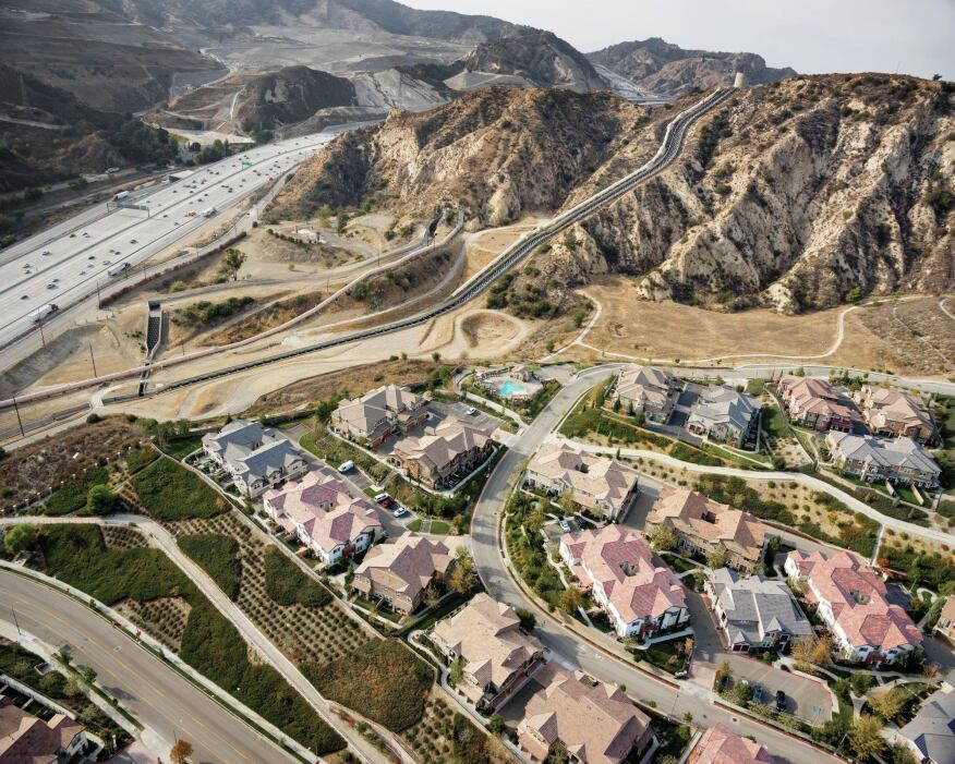 Another view of the cascades near Sylmar, Calif., which are tucked in between a housing development and the Golden State Freeway.