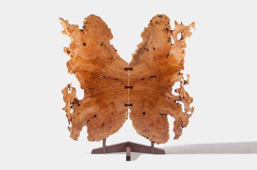 "Tsuitate Butterfly Gate, 2011 (designed and produced). Maple burl root with walnut base, 84"" x 32"" x 80""."