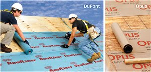LAY IT ON ME: DuPont RoofLiner features enhanced durability and tear resistance, protects against leaks, has a Class A fire rating, and carries a limited 30-year warranty. The Opus Roof Blanket is designed to provide safe traction for roofers whether it is wet or dry, comes in a tan color that keeps cool on hot days, and allows users to snap a chalk line onto the product, the maker says.
