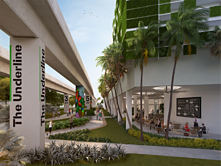 A rendering of Cassa Grove's exterior and its public access plaza for The Underline, an urban park in development under Miami's Metrorail.