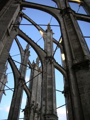 Steel tie-rods connect the buttresses of the Cathedral of Saint Peter of Beauvais in France.