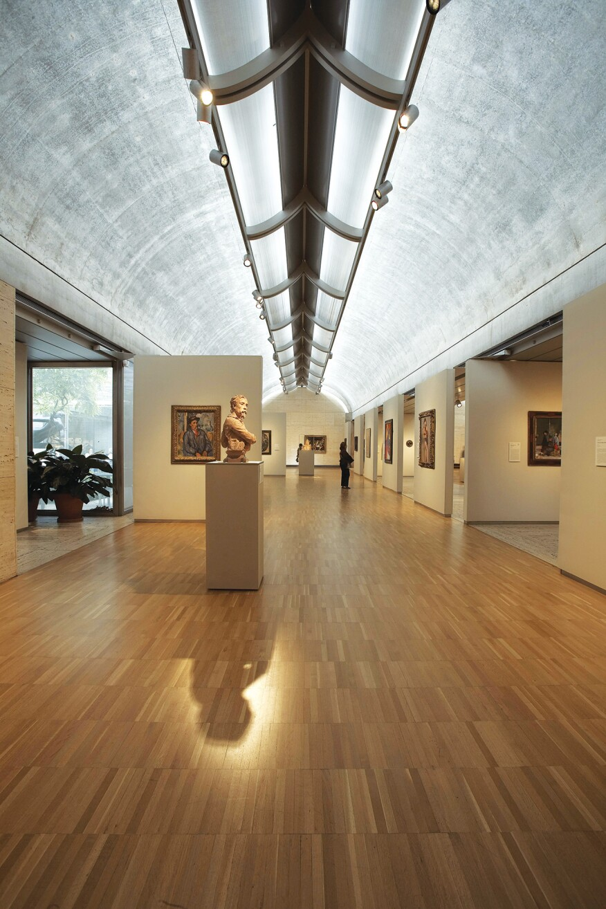 Kimbell Art Museum, Fort Worth, Texas; constructed 1969–72; north galleries; Louis I. Kahn (1901–1974), architect
