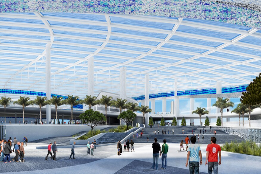 The stadium's ETFE roof covers a pedestrian plaza and is open along the edges.