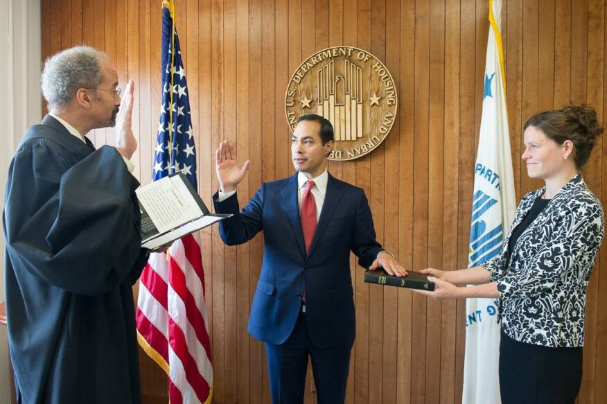 Julian Castro was sworn in as the 16th secretary of HUD by Chief Judge Richard W. Roberts of the U.S. District Court for the District of Columbia on July 28.