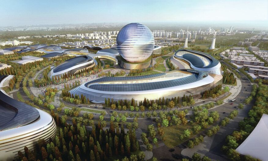 Adrian Smith + Gordon Gill Architecture's winning design for Expo 2017 in Astana, Kazakhstan.   The series of pavilions, retail, and residential spaces will be powered by renewable energy sources and linked to a smart grid.