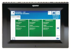 "Uponors Climate Control Network System is a modular, integrated hardware and software package that connects a buildings heating, ventilation, and air-conditioning components to a single system, offering energy efficiency, control, and monitoring. The system allows users to control climate settings via wall thermostats or access the entire system via an optional touchpanel interface, an on-site computer, or remotely from the Internet. The wall sensor is a white, flat, circular piece that fits into a 1-3/4"" hole, and the systems slim flush-mount thermostats come in two models: horizontal and vertical. Optional features include the ability to transfer control to any thermostat in a group. uponor-usa.com"