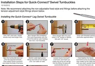 CableRail Quick-Connect® Swivel Turnbuckle Fittings Installation