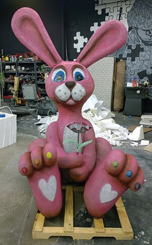 A pink concrete bunny from Concrete Cares was unveiled at World of Concrete.
