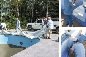 A project unfolds: Paquette Pools, in Hooksett, N.H., unfurls a liner. Vinyl liner installations are challenging because one false move could mean hours of repairs, sometimes a whole new liner. Seen here, the Paquette crew installs a faceplate around a set of stairs.
