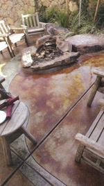 Decorative concrete is everywhere in Las Vegas. Here, the patio of the Roadrunner Grill was stained using Scofield's Lithochrome Chemstain Classic (which was introduced in 1918).