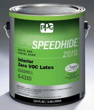 PPG. This company's Speedhide Zero is an acrylic latex paint meant for professional contractors. It can be used on drywall, masonry, wood, plaster, and even metal surfaces, and is available in primer, eggshell, flat, and semi-gloss finishes. Speedhide Zero is Greenguard Children & Schools certified and listed in the CHPS High Performance Products Database. Note that the addition of colorants may boost VOC levels. 800.441.9695. www.ppgpittsburghpaints.com.
