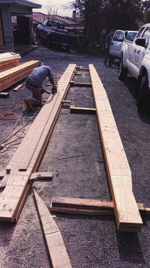 Each LVL rafter was individually scribed and cut.