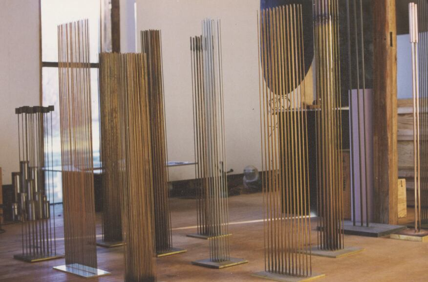 Some of the sound sculptures presented in the barn.