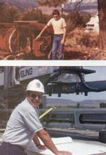 How times change! Mike Poppoff 26 years ago with an old concrete mixer and today with a laser screed.