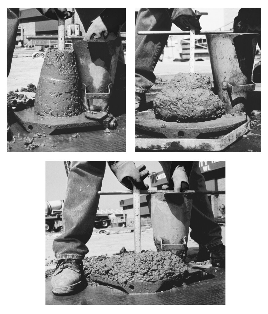 "A slump test uses a standard cone — 12 in. high, 8 in. wide at the base, and 4 in. wide at the top. To perform the test, fill the cone in one-third lifts and ""rod it"" (churning by moving a piece of rebar up and down) 25 times between each lift. Remove the cone and measure the distance from the height of the cone to the height of the slumped concrete. Residential concrete should slump no more than 4 in."