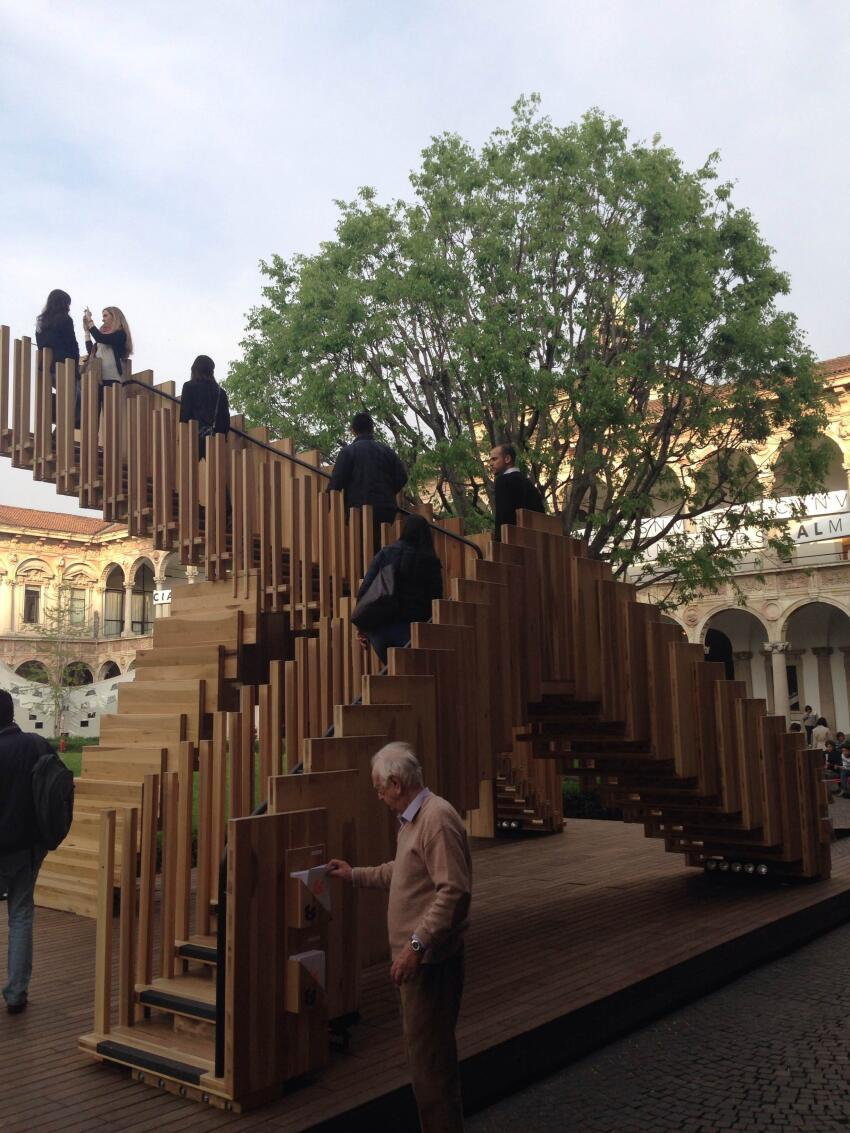 """""""Infinite Staircase,"""" designed by dRMM in collaboration with the American Hardwood Export Council."""