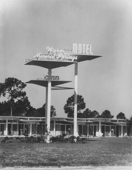 Modern motel exterior view.