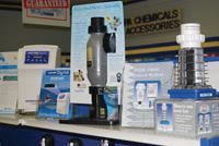Visual devices: More  manufacturers now are designing retail-suitable packaging for salt  chlorinators and attractive POP displays to grab the attention of  pool-store shoppers.