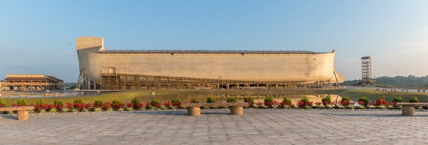 Visitors enter the 510-foot-long attraction via a 450-foot-long ramp near the ark's stern.
