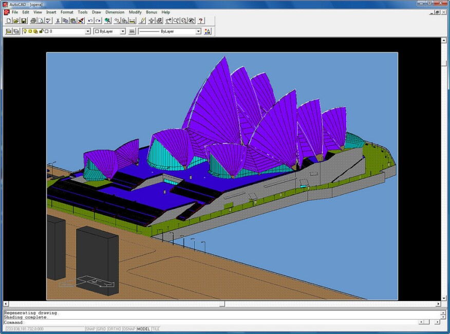 Sydney Opera House in AutoCAD.