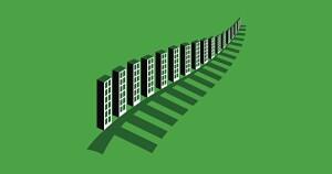Row of city skyscraper buildings forming green leaf