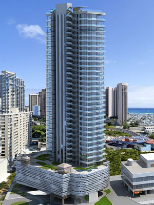 A rendering of the planned Aloha Kai mixed-use tower.