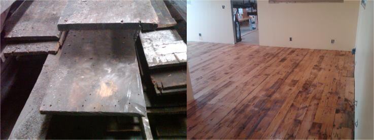 Wine importer Damien Casten turned salvaged exterior wood paneling into flooring.