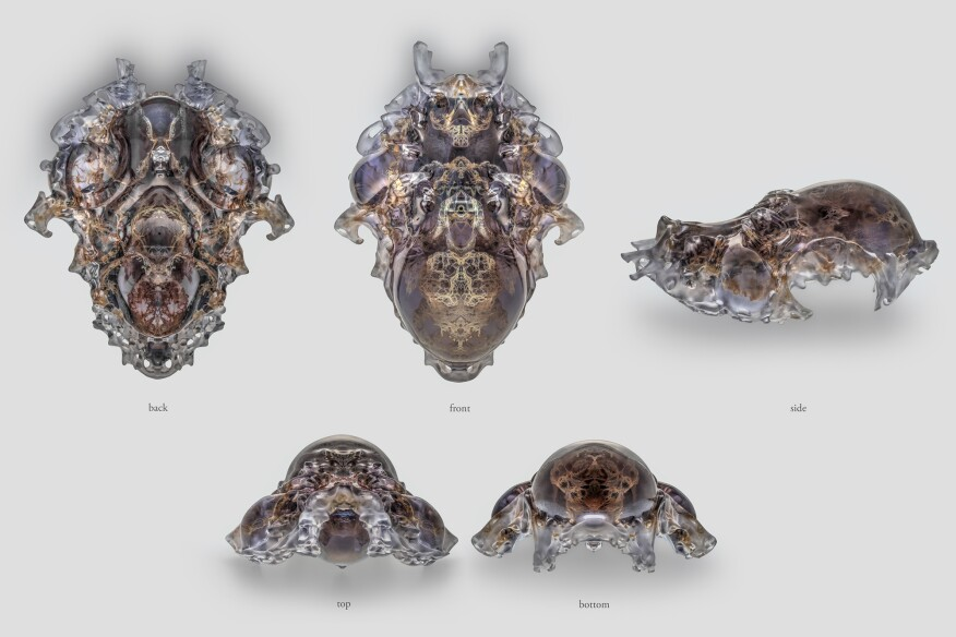 Compilation of views, Mask 5, Vespers collection, Present series. Designed by Neri Oxman and members of the Mediated Matter Group and 3D printed by Stratasys.