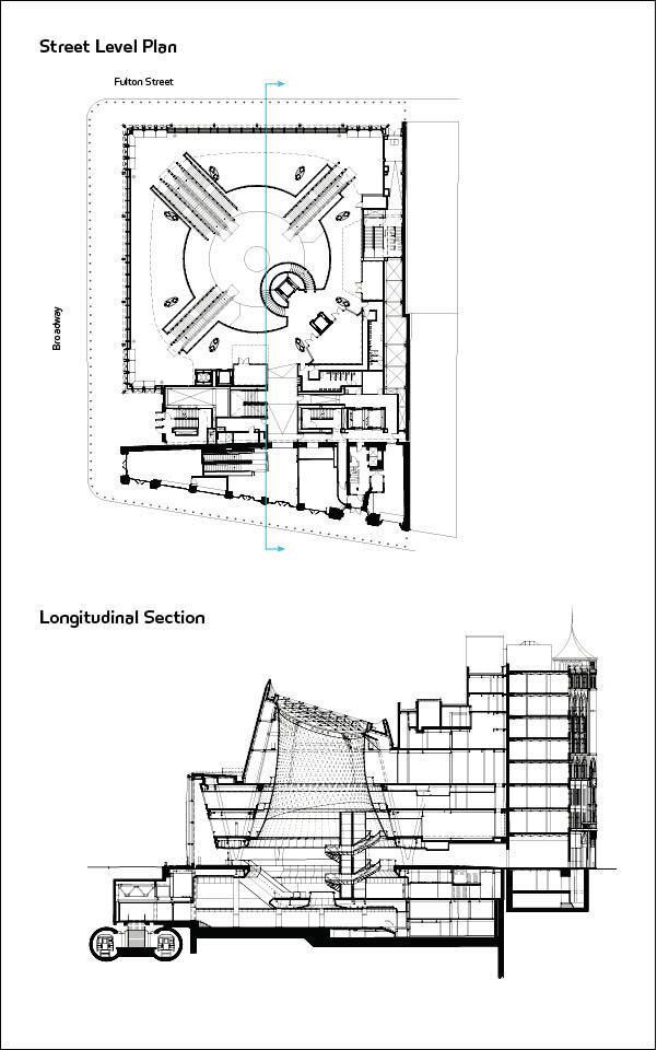 Street Level Plan (top); Longitudinal Section (bottom).