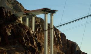 Attendees visit the Colorado River Bridge construction site during the Hoover  Dam Bypass Tour.