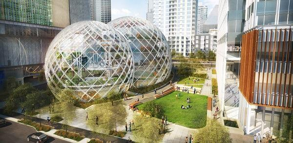 The first version of Amazon's headquarters that NBBJ proposed to Seattle.
