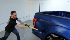 This is from the now-famous sledgehammer attack in a video produced by Edmunds. After bashing the truck they had it repaired to determine what it might cost to fix an aluminum body.