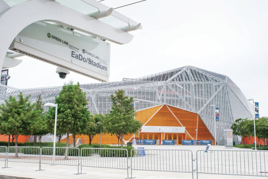 BBVA Compass Stadium is serviced by the purple and green lines.