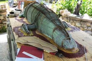 Sculpting a Concrete Alligator