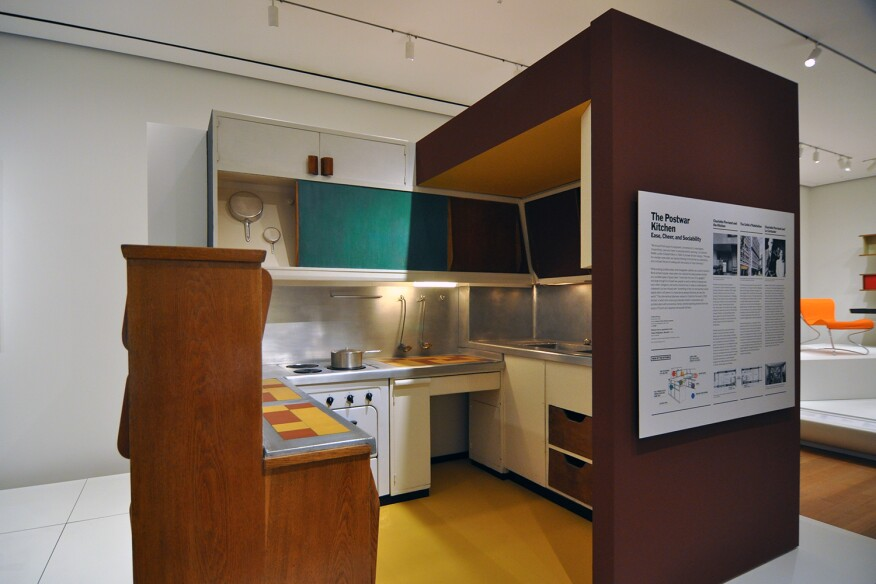 "A full-scale model of Charlotte Perriand's kitchen for Le Corbusier's L'Unité d'Habitation was part of MoMA's ""Designing Modern Women 1890-1990"" exhibition in 2014."
