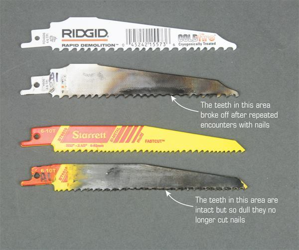 Tooth size alone is not a good predictor of longevity. The widely spaced teeth of the Ridgid blade (at top) cut quickly at first but were prone to snagging on nails. The more tightly spaced teeth of the Starrett didn't lose teeth to shock, but friction and heat eventually wore them down.